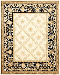 Safavieh Handmade Couture Florence Zeus Trellis Ivory/Black Wool Area Rug (China) - Ivory/Black - 9' x 12'