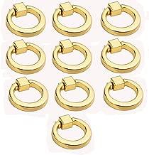 Eforlike 10 Pcs European Style Ring Pull Handles Knobs for Cabinet Drawer Dresser Cupboard Wardrobe (Gold)