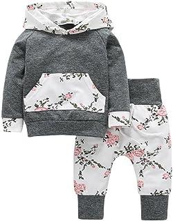QinMM Halloween Babykleidung, 2pcs Kleinkind Säugling Baby Junge Mädchen Kleidung Satz Blumen Hoodie Tops  Hosen Outfits by 0-24Monat