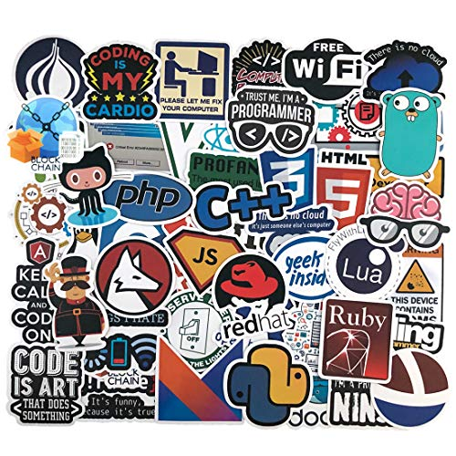 Developer Programming Stickers, Internet Software Stickers, Programmers Sticker Pack (50pcs), Waterproof Vinyl Sticker for Water Bottle, Mug, Luggage, Laptop, Engineers, Hackers, Geeks, Coders