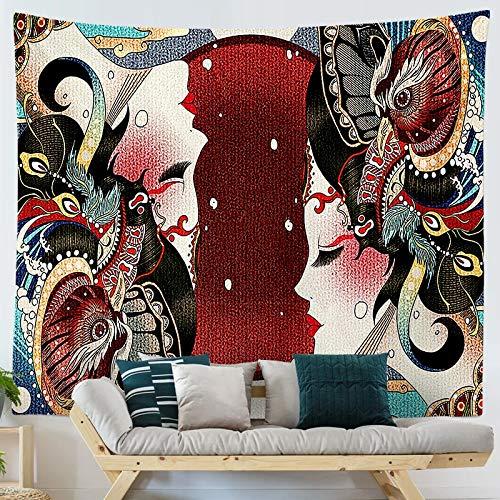 KHKJ Tapiz Colgante con Estampado de Ukiyo de Dibujos Animados de Estilo japonés, tapices para Colgar en la Pared, Colcha Boho, Manta para Estera de Yoga A20 200x150cm