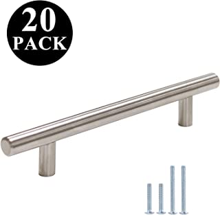 Probrico Stainless Steel Modern Cabinet Handles Kitchen Cupboard Drawer Handles and Pulls T Bar Knobs Brushed Nickel, 5 inch Hole Centers, 20 Pack