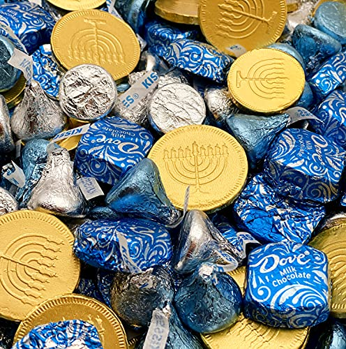 Hanukkah Candy Assortment Gold Coins Milk Chocolate, HERSHEY'S KISSES Blue, Silver Foil, and More - Bulk 2 Lbs