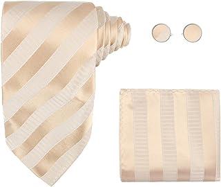 Y&G Men's Fashion Elegant Necktie Cufflinks Hanky Various Striped Silk Tie 3PT Come In a Gift Box