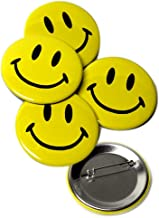 Classic Smiley Face Pinback Buttons - 2.25 Inch Round - 5 Pack