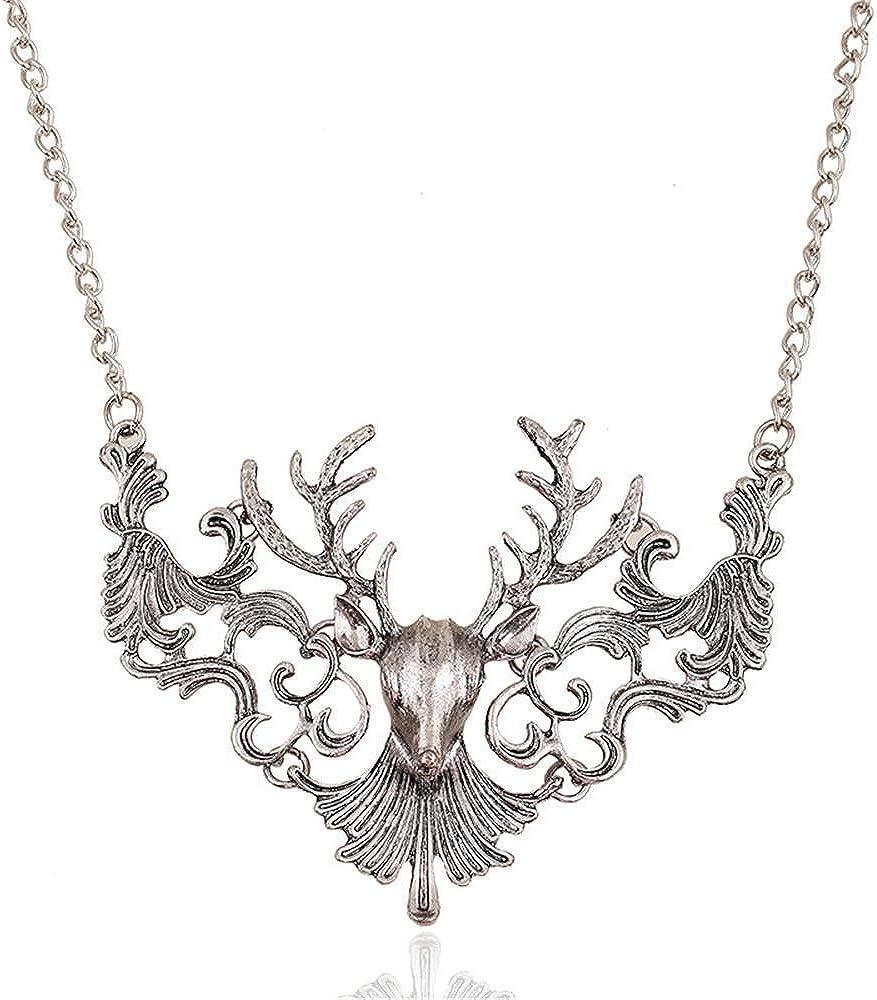 17Rainbow Vintage Antique Elk Deer Statement Maxi Excellent Washington Mall Long Pendants