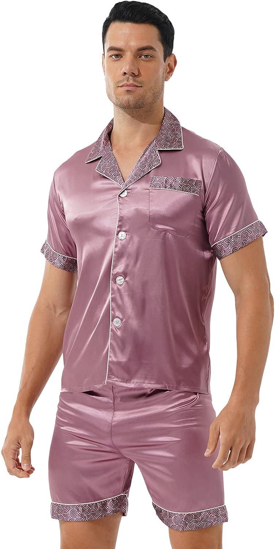 Mufeng Mens Satin Pajamas Short Sleeve Sleepwear Soft Button Down Loungewear Pjs Shorts Set