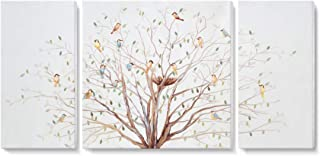 3 Piece Bird Tree Wall Art Nature Painting 'Morning Chorus' Canvas Print on Wrapped Canvas with Hand-painted Embellished Texture Large Colorful Artwork Picture for Living Room Bedroom Office Decorativ
