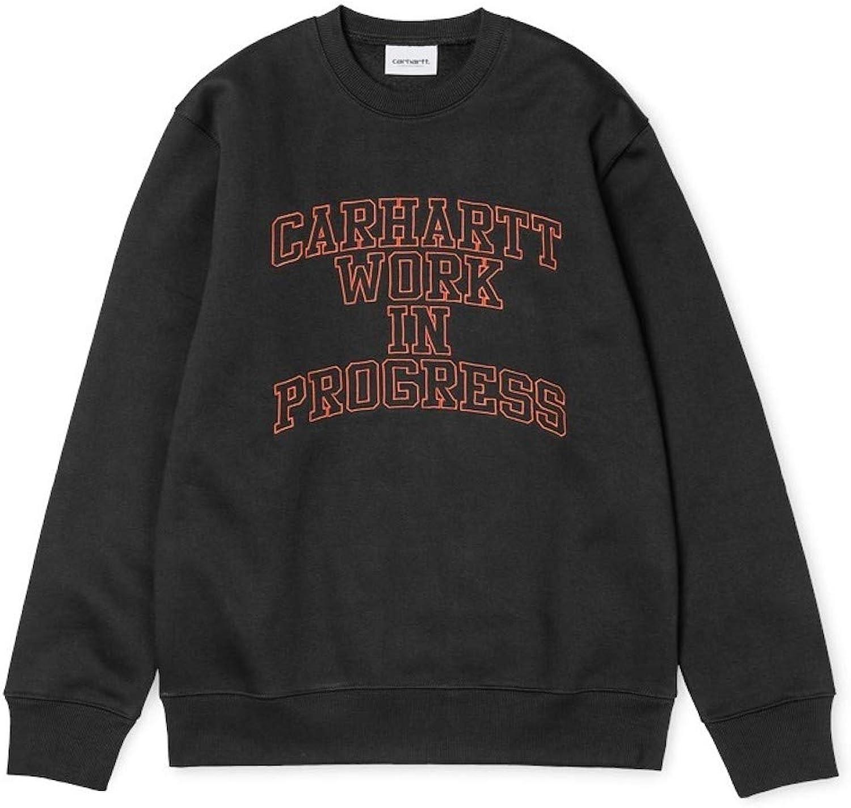 Carhartt Felpa GIROCOLLO herren WIP Division Embroidery Sweatshirt schwarz Persimmon