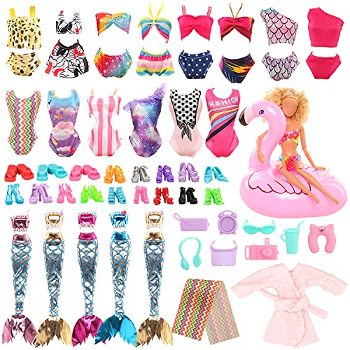 Miunana 25 Clothes Accessories for Dolls = 2 Mermaid Tail Dresses +4...