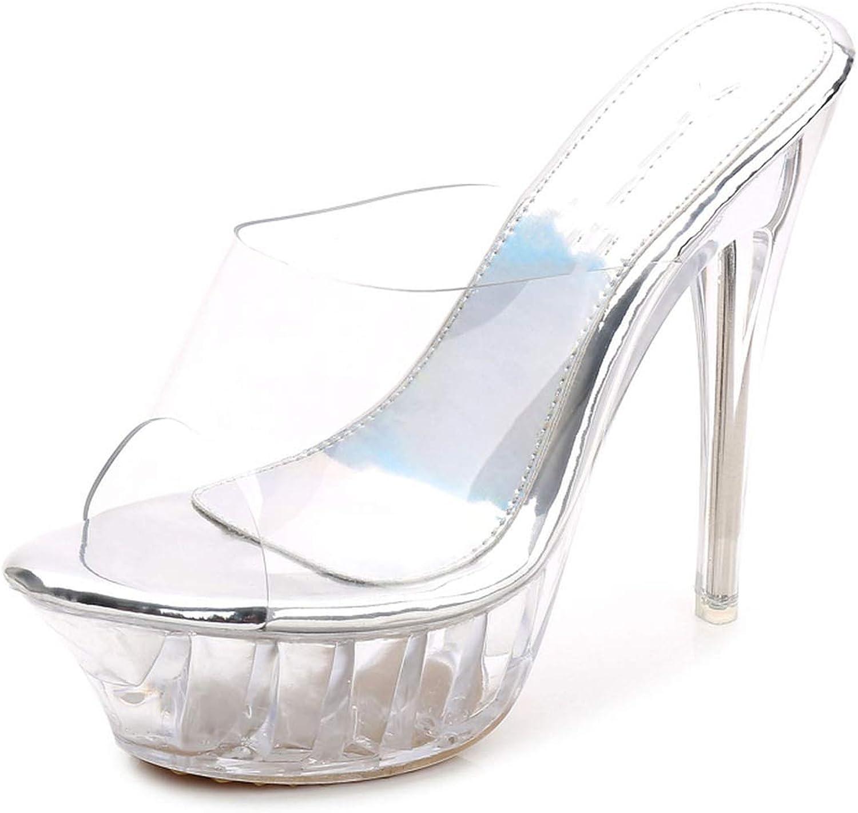 FAT BABY Sandals Summer Transparent Thin High Heels Sandals Ladies Casual Sandals Slippers Women
