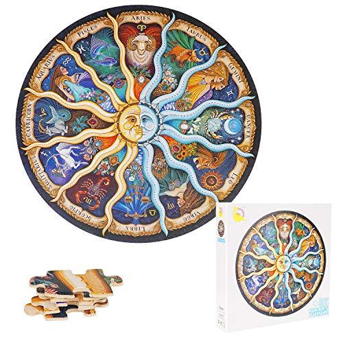 TINYOUTH 500 Teile Runde Puzzle für Erwachsene, 12 Sternbilder Puzzle, 48CM/18.90in 1mm Karton Puzzle - Familienpuzzle Verringerter Druck Schwieriges Puzzle Rahmen Puzzle für Kinder Erwachsene