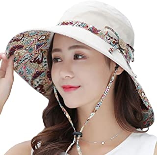 QYJpB-Hats Ladies Bucket Hat Summer Sun Hats, Sunhats Womens Foldable Roll Up Sun Hat,Packable Summer Sun Straw Hat (Color : Beige)