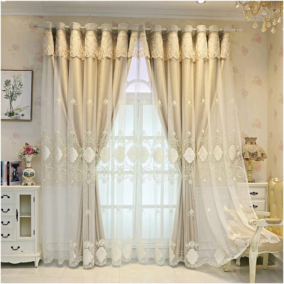 Double Layer Cheap mail order specialty store Blackout Curtain White Embroidered Mix Mail order cheap Lace Match E