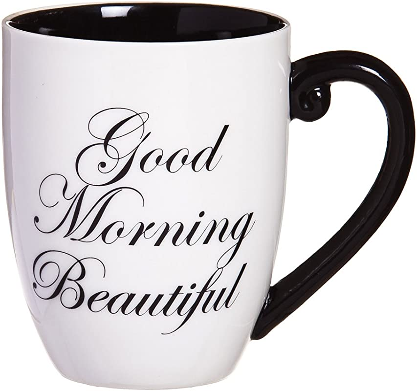 Cypress Home Good Morning Beautiful 18 Oz Black Ink Ceramic Coffee Cup