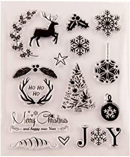 Merry Christmas Joy Christmas Tree Elk Snowflakes Clear Stamps for Card Making Decoration and DIY Scrapbooking