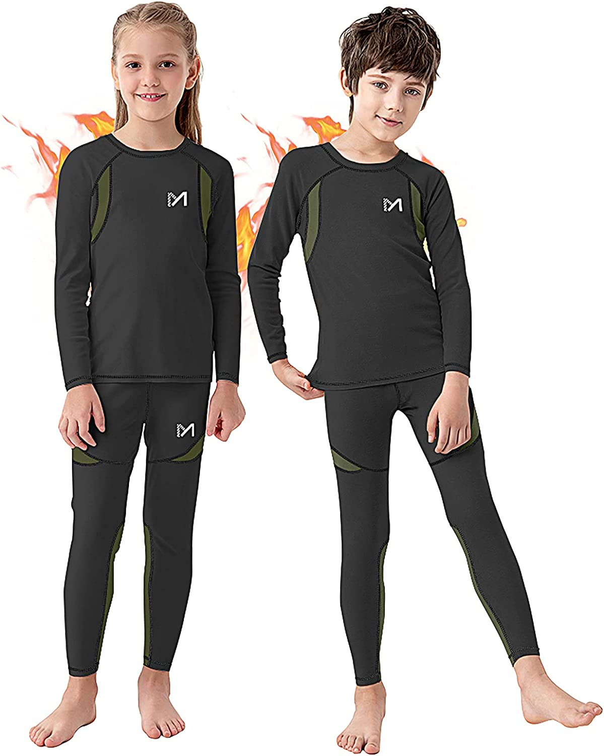 Boys and Girls Thermal Underwear Set, Unisex Fleece Lined Compression Base Layer, Winter Long Johns for Kids 8-16 Years