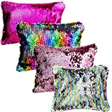 Tatuo 4 Pieces Magic Sequin Bags Reversible Glitter Pencil Pouch Small Makeup Organizer Purse, Assorted Colors