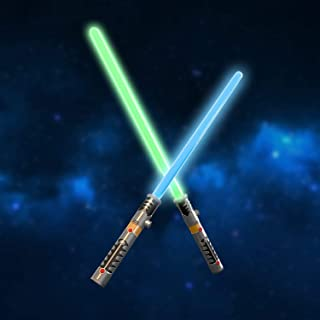 FUN LITTLE TOYS 2 LED Light Saber Laser Sword Connectable Light Saber, Halloween Party Favors, 2 in 1 Light Sound Effect (Battery Included)