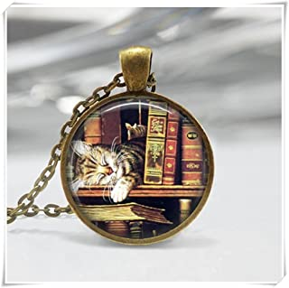 Library Book Necklace, Cat Jewelry,Bookworms Art Pendant ,Dome Glass Ornaments, Pure Handmade