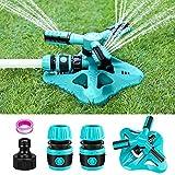 Fixget - Irrigatore da giardino, sistema di irrigazione per prato, rotazione automatica a 360°, per irrigare piante o giochi estivi all'aperto (blu)