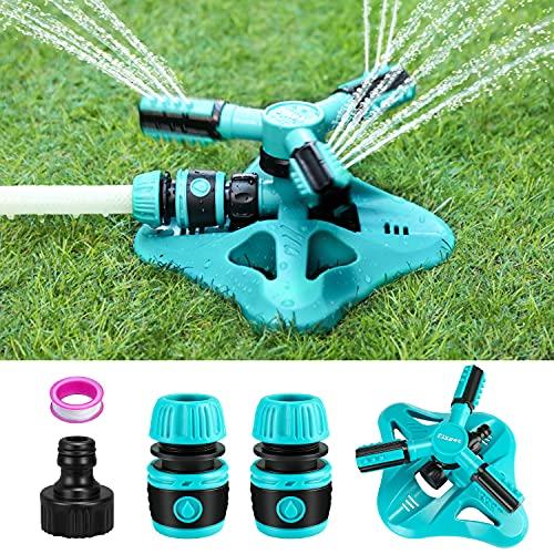 Fixget Rasensprenger, Garden Sprinkler Bewässerungssystem Garten, Automatische 360-Grad-Bewässerungssprinkleranlage 3-Arm-Sprühgerät mit für Bewässerungsanlagen