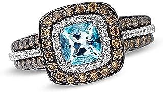 LeVian Blue Aquamarine Ring Chocolate and Vanilla Diamonds 1.50 cttw 14K White Gold