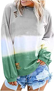 Women's Sweatshirt Gradient Contrast Color Tie Dye Pullover Tops with Thumb Hole Fall Long Sleeve T-Shirt Blouse
