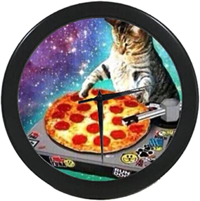 Galaxy Space Cat With Pizza Wall Clock Customized Home Decor House Office Wall Clock 9.65