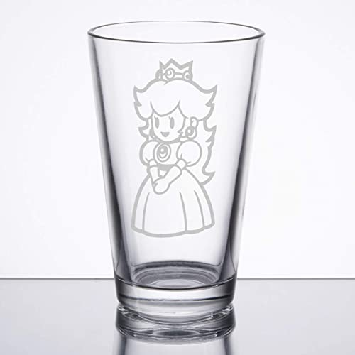 Super Mario Princess Peach Yoshi Personalised Glass  etched engraved