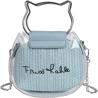 Wultia - Clear Transparent Shoulder Bags Women Feather Cat Women Jelly Bags Purse Solid Color Handbags sac a Main Femme Crossbody Bag #N Blue