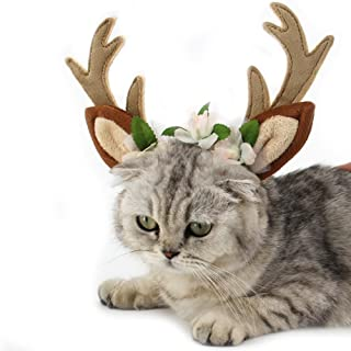 FLAdorepet Dog Elk Antler Reindeer Hat Cap Dog Cat Pet Christmas Costume Outfits Small Big Dog Hat Headwear Hair Grooming Accessories