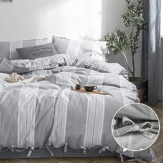 BISELINA 100% Washed Cotton Duvet Cover Set 3 Pieces Ultra Soft Breathable Reversible Design Full Grey