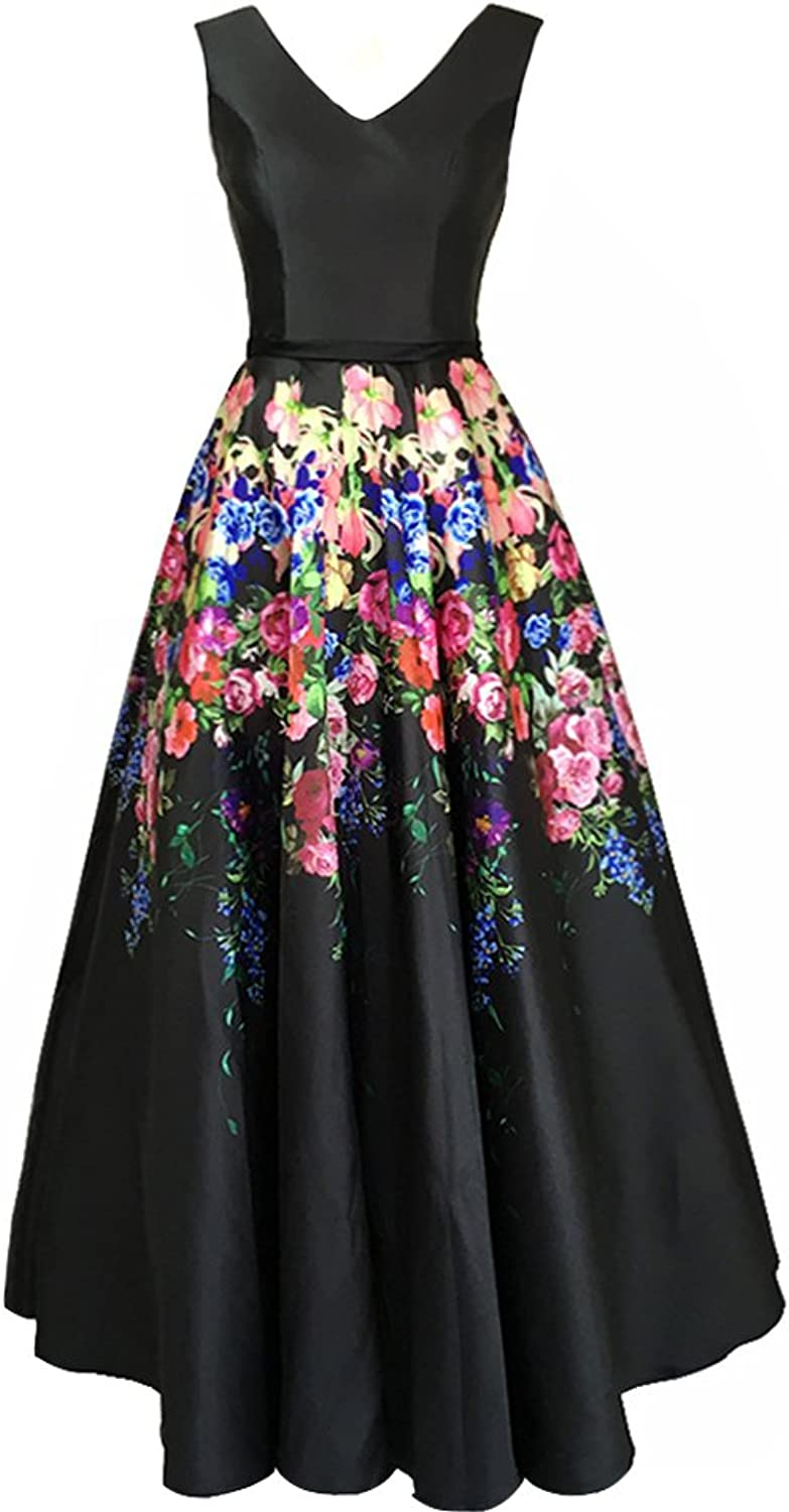 Lemai Women's V Neck Black Satin Floral Print A Line Long Prom Evening Dresses