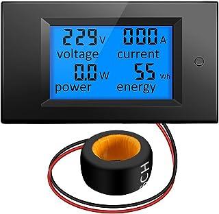 KKmoon 4in1 デジタル 電力チェッカー LCD パネル 電流電圧計 パワーワットモニタ 100A AC 80V-260V 20A / 100A 電流 電圧 KWh測定 電流トランスCT付き マルチメータ