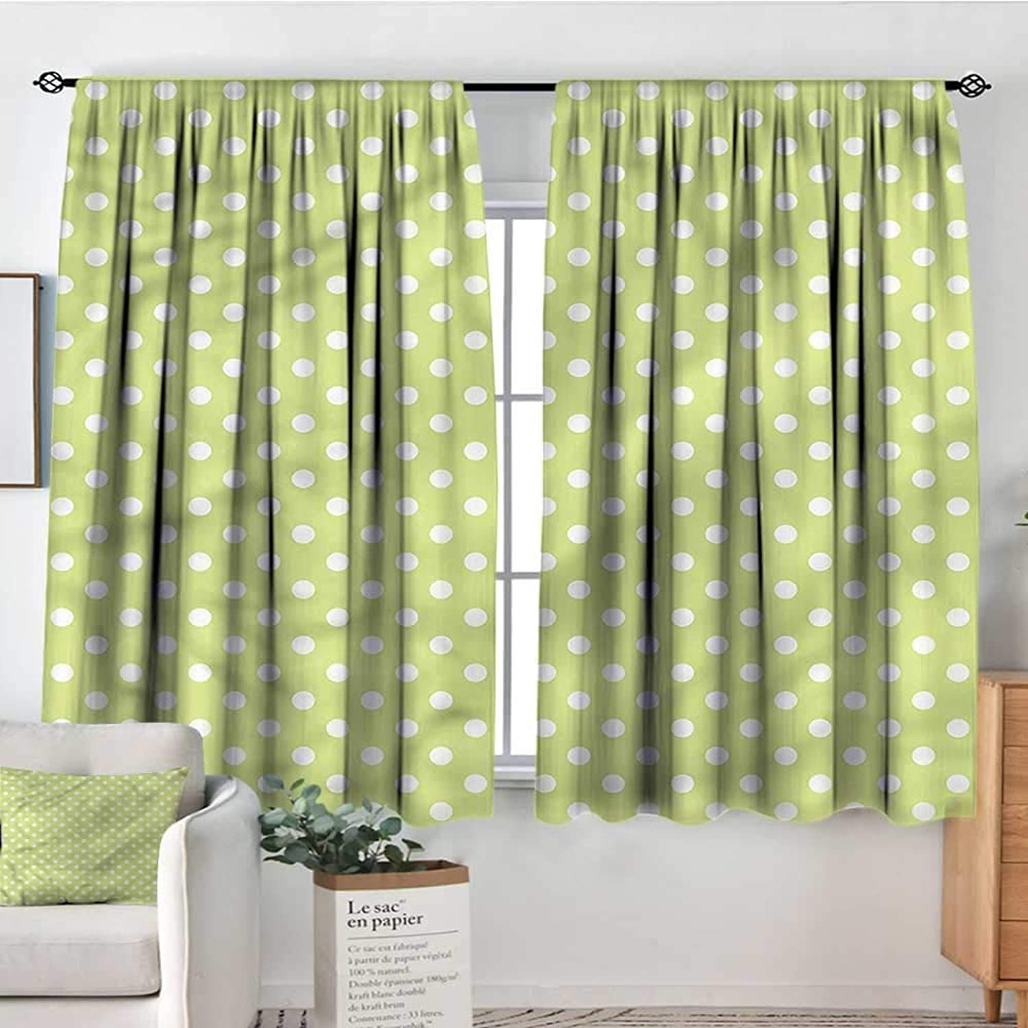 Familytaste Polka Dots,Rod Curtains 60s Simplistic Design 52 x63  Backout Curtains for Kids Iving Room