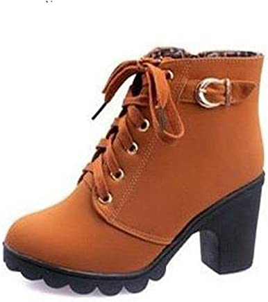 7778b2f43a4574 Desirca Women Boots Autumn Winter Lace-Up Ladies Shoes Pu Leather Boots  Shoes