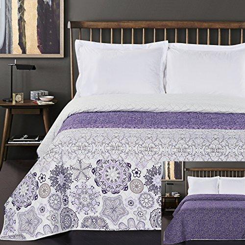 DecoKing Tagesdecke 200 x 220 cm violett weiß Bettüberwurf mit abstraktem Muster zweiseitig pflegeleicht Alhambra lila Purple White Lilac