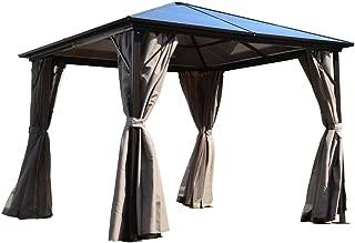 ALEKO GZBHR03 Aluminum Hardtop Gazebo with Removable Mesh Walls 10 x 10 Feet Brown