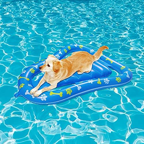 Ksruee Flotador Inflable para Piscina para Perros, Cama Flotante para Mascotas de PVC Flotador para Piscina para Perros, 120 x 92 cm Flotador Inflable para Piscina para Perros Flotador, Peso de 80 kg