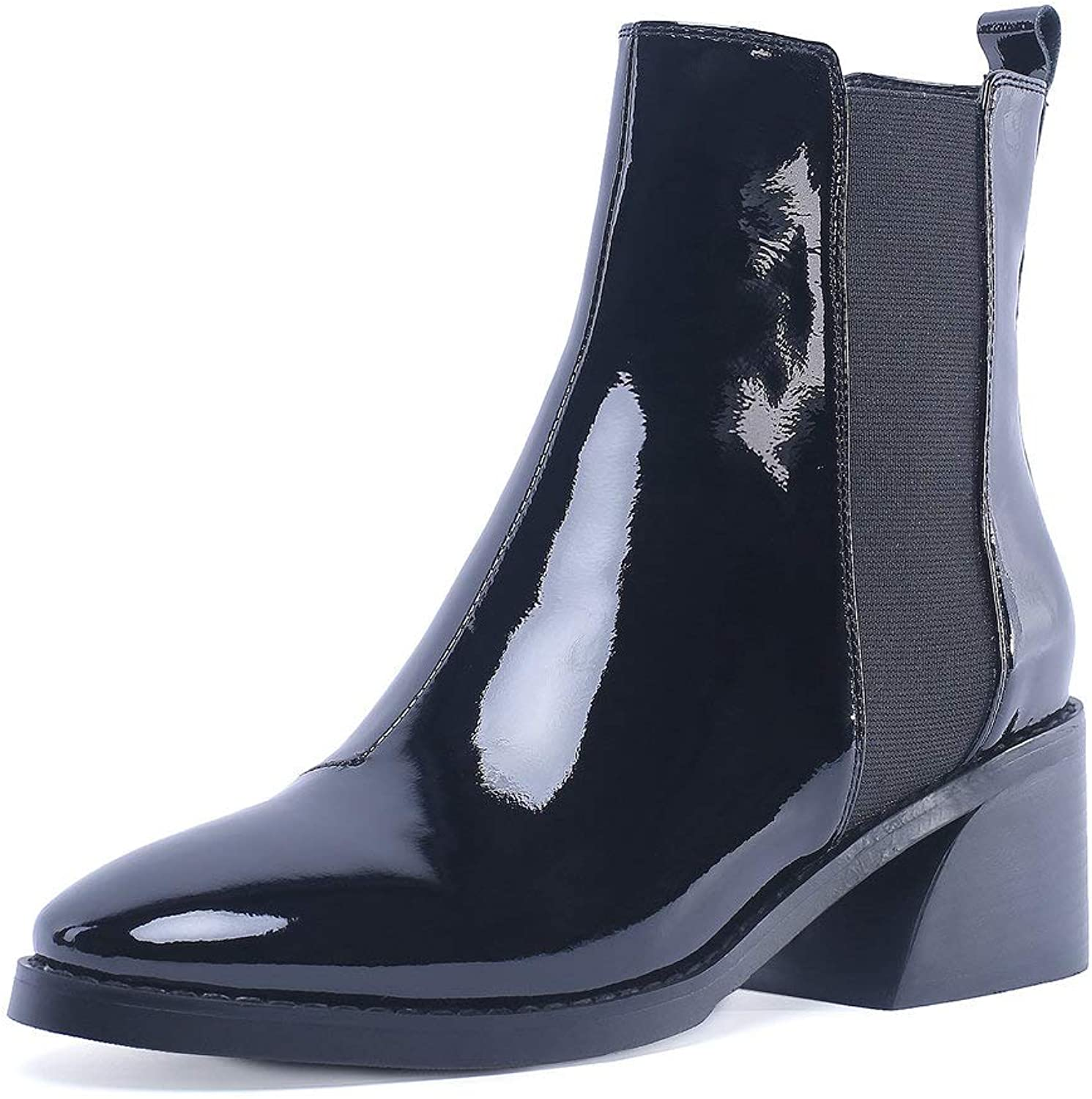 AnMengXinLing Women Ankle Chelsea Boot Low Heel Slip On Patent Leather Western Cowboy Short Booties Comfortable Rain Boots