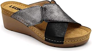 LEON 1008 Leather Slip-on Womens Ladies Sandals Mule Clogs Slippers Shoes