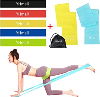 YHmall Resistance Bands Set - 2 Exercise Bands and 5 Resistance Loop Bands for Legs Butt Arms and Shoulders at Home Gym Workout, Physical Therapy with Carry Bag (7 Pack)