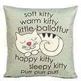 B Lyster shop Happy Sleepy Kitty Print Cat Cotton & Polyester Soft Zippered Cushion Throw Case Pillow Case Cover