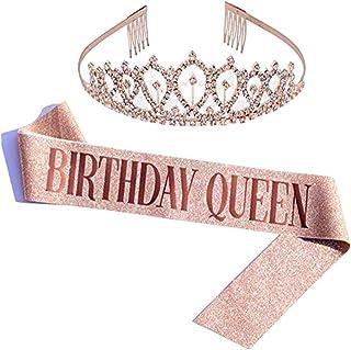 REYOK Corona de cristal con corona de cumpleaños para novia, princesa, cumpleaños, corona de princesa, corona de princesa,...