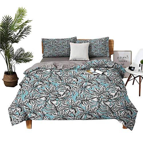 4 Bedding Cover Set Bedding Cover Sets Four Piece-Suit Bedding Monochrome Foliage on Pale Blue Color Vintage Exotic Jungle Botany Pattern Pale Blue Black White Apartment Dormitory W68 xL90