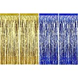 Sumind 4 Pack Foil Curtains Metallic Fringe Curtains Shimmer Curtain for Birthday Wedding Party Christmas Decorations (Blue and Gold)