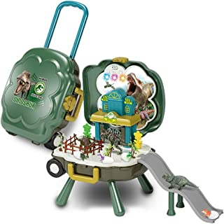 Dinosaur toys for kids, kids pretend play Jurassic playset bag with rolling travel bag, music and light Preschool Toy Gift...