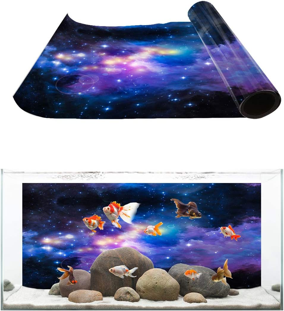 Amazon Com Aquarium Background Outer Space Galaxy Starry Sky Fish Tank Wallpaper Easy To Apply And Remove Pvc Sticker Pictures Poster Background Decoration 16 4 X 24 4 Pet Supplies