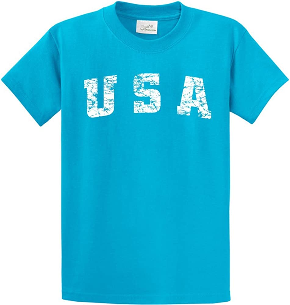 Joe's USA -Tall Vintage USA Logo Tee T-Shirts in Size 2X-Large Tall -2XLT Turquoise